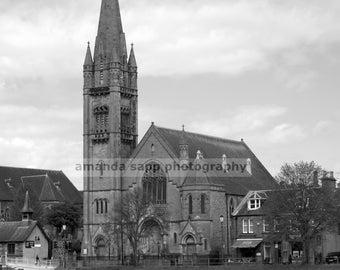 Free North Church Inverness Scotland black and white photograph