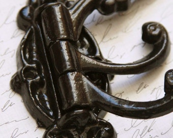 Three Swing Arm Wall Hook, Oil Rubbed Bronze, Cast Iron, Victorian Style, Hardware Included.