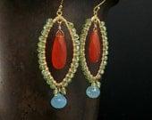 Carnelian Marquise Hoop Earrings, Peridot, Aqua Chalcedony Gold Filled Earrings, Gold Wire Wrapped Gemstone Hoop Earrings, Long Earrings