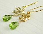 Gold Peridot Earrings, Green Peridot Gemstone, August Birthstone, Peridot Dangle, Gold Filled, Vermeil Gold Leaf, Natural Stone