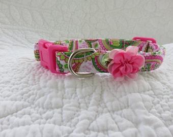 Hot Pink Paisley Floral  Dog Collar