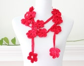 Crocheted Red  Lariat, Necklace,  Scarflette