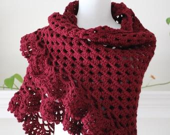 Crocheted Burgundy Triangle Scarf, Shawl
