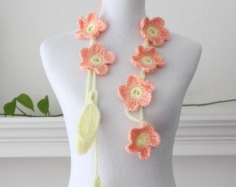 Crochet Peach Yellow Flower Lariat, Necklace, Scarf, Scarflette