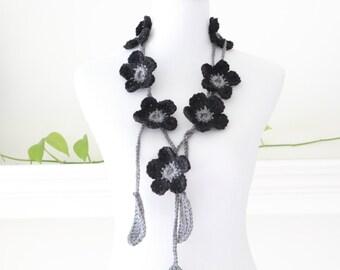 Crochet Black, Gray Lariat, Necklace, Scarf, Scarflette