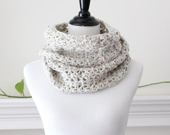 Crochet Circle Scarf Oatmeal Cowl Neckwarmer