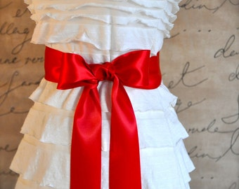 Red satin sash in your choice of colors. Bridal belt Bridesmaids sash Flower Girl sash. Ready to ship Christmas red