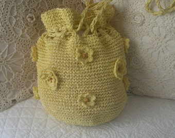 Vintage Canary Yellow Crocheted Grass Drawstring Sack Shoulder Purse with Grass Florets