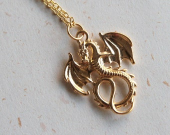 Dragon Necklace (N369) - Small dragon in golden color