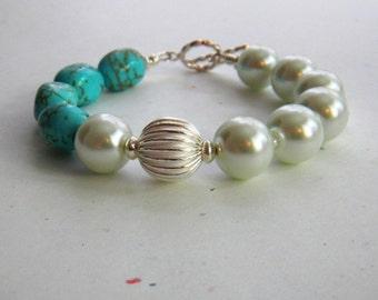 Pearl and Turquoise Bracelet Chunky Bracelet Asymmetrical Bracelet Pearls Sterling Silver Handmade