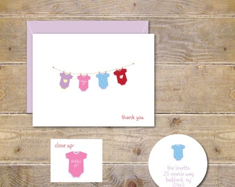 Baby Shower Thank You Cards, Baby Shower, Baby Thank You Cards, Baby Girl Thank You Cards, Baby Thank You Notes, Onesie, Baby Girl