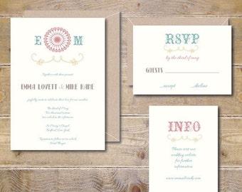 Vintage Wedding Invitations Rustic Modern Country Summer
