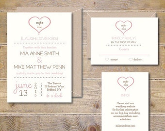 Wedding Invitation Suite, Wedding Invitations, Heart Wedding Invitations, Wedding Invitation Set, Summer Wedding, Hearts, Sweetheart