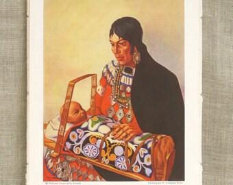 Female Portrait , Botanical Book Plate , Antique Book Plate , Native American , Illustration , National Geographic , Loose Art , Ephemera