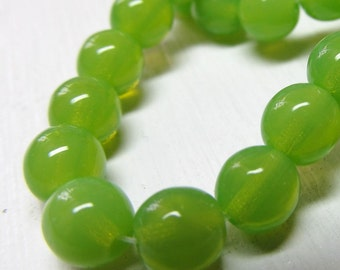 Czech Glass Beads 6mm Pea Green Smooth Opaque Rounds - 30 Pieces
