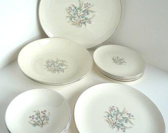 VIntage Taylor Smith Versatile Mid Century Dishes Plates Bowls Aqua Pink Floral- Plates, 14 Pieces