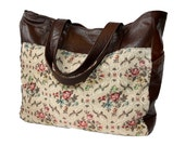 Floral Tapestry and Leather Weekender Overnighter Carry On Bag - XL Tote - Floral Fabric and Zipper