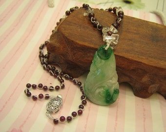 A Grade Natural Jade Pendant & Red Garnet Necklace