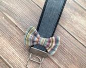 Chambray/ Denim Wristlet Key Fob with Striped Bow Key Holder, Key Chain, Wristlet