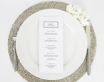 Wedding Menu - Dinner Menu - Boxed Monogram Design - Deposit