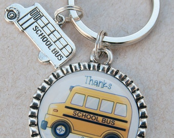 School Bus Driver Gift, Thank You, Key Chain for Bus Driver, Yellow School Bus Keychain