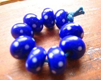 Cobalt Polkas Lampwork Beads, FHFteam, SRA, UK