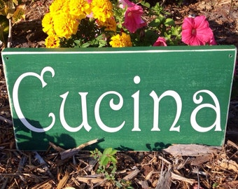 14x8 CUCINA (Choose Color) Rustic Shabby Chic Italian Sign