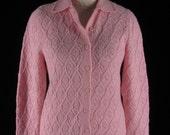 Retro 70s Lacy Pink Cardigan Sweater Acrylic Medium
