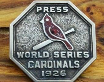 1926 St. Louis Cardinals World Series Press Pin,  brass reproduction, Shire Post Mint