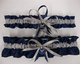 Navy Blue Satin and Silver Wedding Garter Set with Air Force Deco