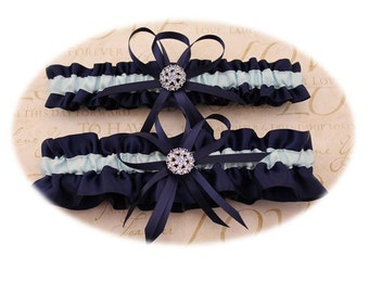 Navy Blue and Light Blue Wedding Garter with Charms, Bridal Garter , Prom Garter  (Your Choice, Single or Set)