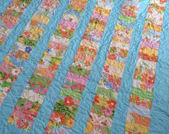 Dream On Lap Quilt or Baby Quilt-- Coins quilt -- vintage, floral pink, green, yellow, blue, aqua