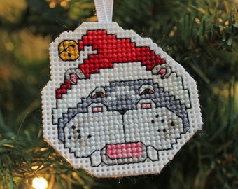 Handmade Hippo Christmas Cross Stitch Ornament