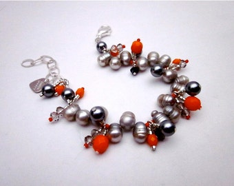Orange Charm Bracelet -- Accent Bead Bracelet -- Silver Grey Pearl Bracelet -- Orange & Grey Bracelet -- Pearl and Orange Glass Bracelet