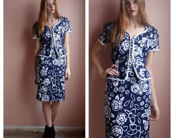 SALE 80s Dress Suit David Warren 80's Floral Shoulder Pads Suit Navy Blue & White BALMAIN Style Size small sm (2-4)