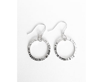 Mini Circle Silver Earrings - Handmade Sterling Small Tiny Hammered Texture Women Ring Simple Drop Hooks