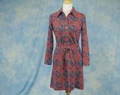 Vintage 70s Kay Windsor Mini Dress, Psychedelic Geometric Print, Sm Med