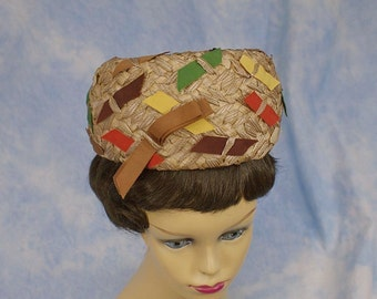 Vintage 60s Raffia Straw & Ribbons Pillbox Church Hat Easter Hat by Coralie