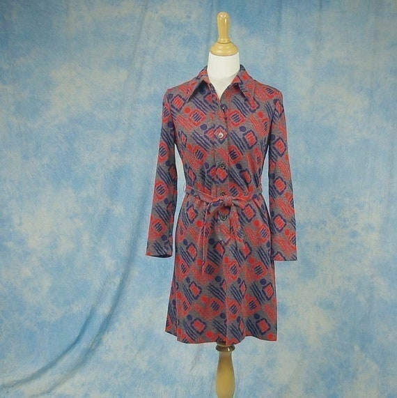 Vintage 70s Kay Windsor Mini Dress, Psychedelic Geometric Print, Sm Med
