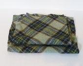 CLEARANCE Soft Felted Wool, Green and Blue Tartan Plaid Reclaimed skirt Pieces # 15,  wool for felting, applique, small projects