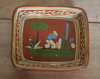 vintage mexican pottery square dish made in mexico