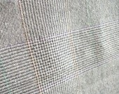 Grey Tan Plaid Wool Blend Fabric Yardage