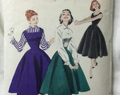 Butterick 7455 1950s Jumper Dress & Bloouse Vintage Sewing Pattern Bust 36