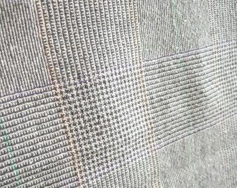 Grey Tan Plaid Wool Blend Fabric Yardage