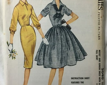 McCalls 5040 1950s Full or Pencil Skirt Dress Vintage Sewing Pattern Bust 38