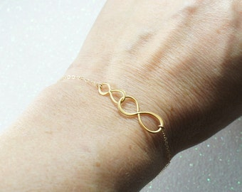 Infinity Gold Bracelet-Best Friends Necklace, Mother Child Necklace, Infinite Love, Free US Shipping