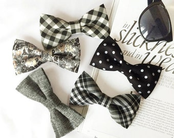 Wedding Set of Black and White Men's Bow Ties, Groomsmen Bow Ties, Mismatched Wedding Bow Ties