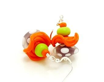 Purple Orange & Lime Polka Dot Ruffle Earrings, Colorful Earrings, Lampwork Earrings, Glass Bead Earrings, Beadwork Earrings, Glass Jewelry
