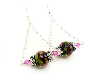 Colorful Dangle Earrings, Lampwork Earrings, Glass Earrings, Chain Earrings, Unique Earrings, Glass Art Earrings, Trendy Earrings