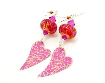 Pink Heart Earrings, Copper Earrings, Heart Jewelry, Boro Earrings, Lampwork Earrings, Dangle Earrings, Boho Earrings, Mixed Meal Earrings